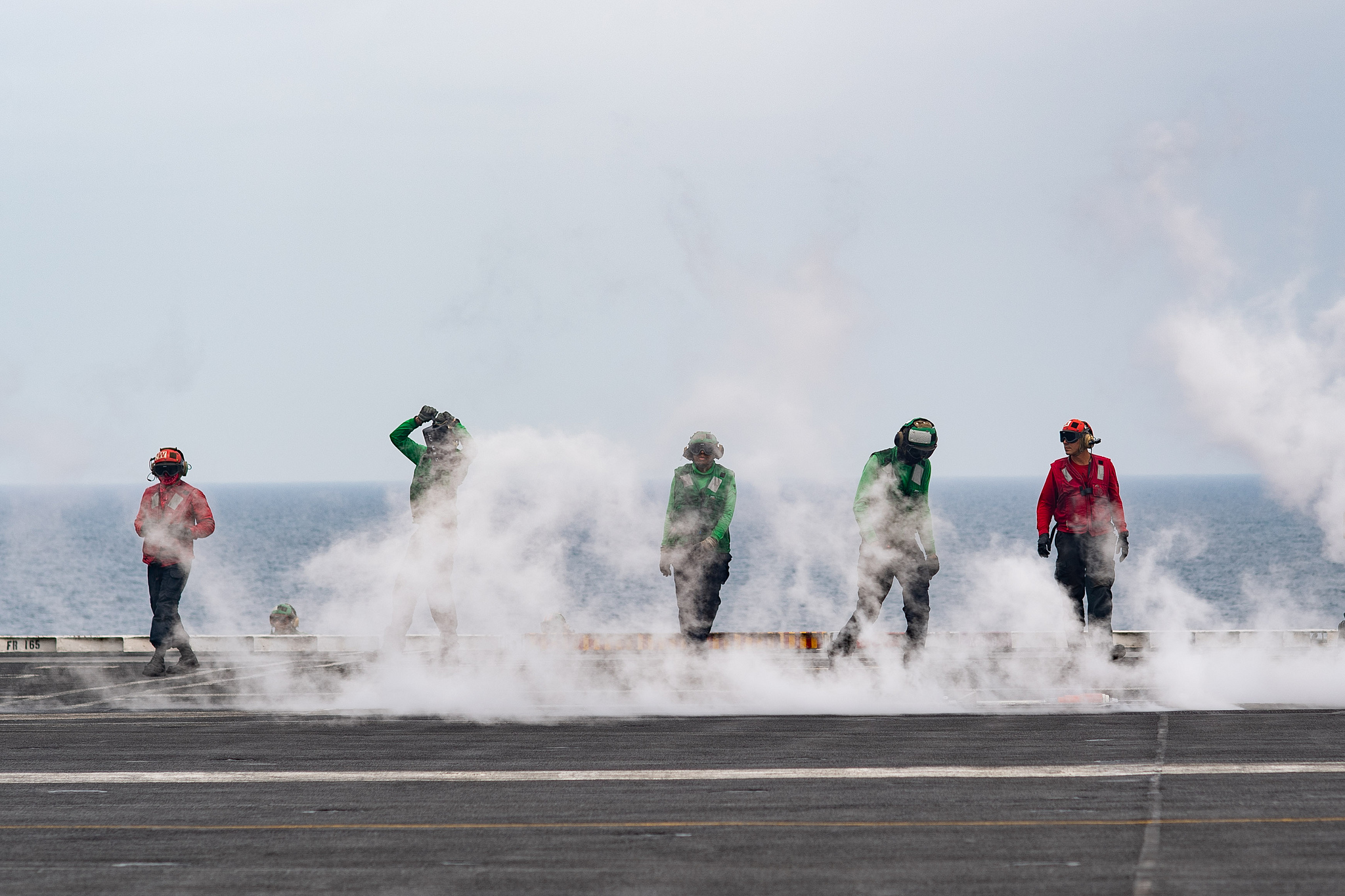 Sailors reset a steam-powered catapult on the flight deck of the aircraft carrier USS John C. Stennis (CVN 74) on March 23, 2019, in the Arabian Gulf. (U.S. Navy photo by Mass Communication Specialist 3rd Class Grant G. Grady/Navy)