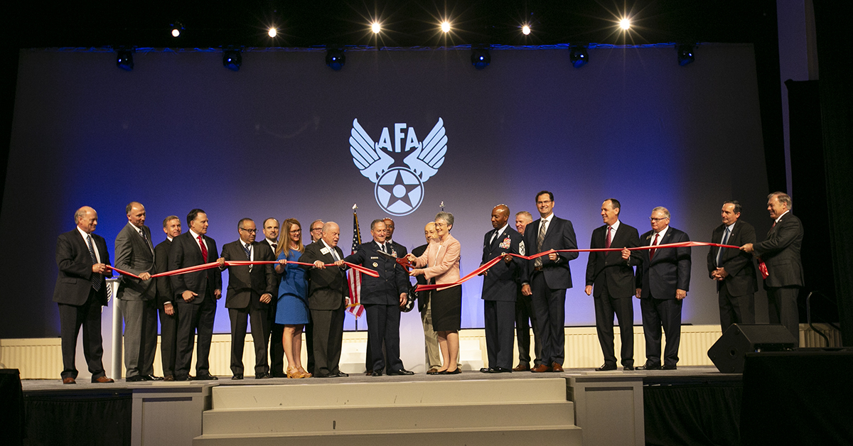 Sec. of the Air Force Heather Wilson along with Air Force Chief of Staff Gen. David Goldfein, cut ceremonial ribbon to open the Air Force Association's Air, Space & Cyber conference held at the Gaylord National Resort & Conference Center in Oxon Hill, MD.(Alan Lessig/Staff)