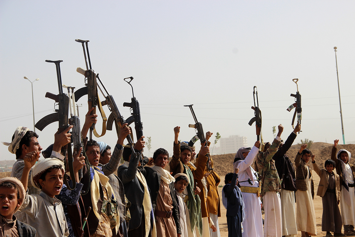 Tribal gunmen brandish their weapons Jan. 5, 2019, during a gathering to show support to the the Shiite Houthi movement against the Saudi-led intervention in the northwestern city of Saada. (AFP via Getty Images)