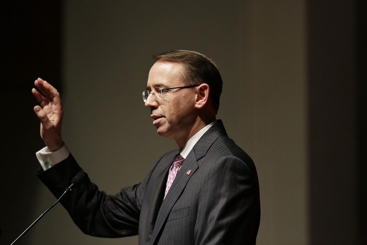 Deputy Attorney General Rod Rosenstein announced a new policy to attribute foreign influence campaigns, but critics say it might not be enough. (AP Photo/Brynn Anderson)