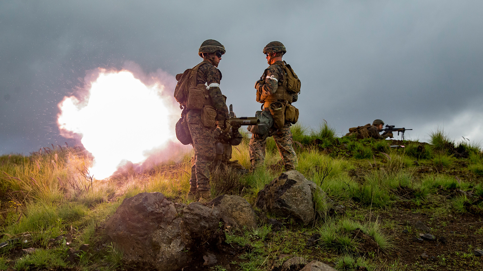 A Marine fires a Light Anti-Armor Weapon (LAW) on Oct. 22, 2018, during Exercise Bougainville II at the Pohakuloa Training Area on the Island of Hawaii. (Sgt. Ricky Gomez/Marine Corps)