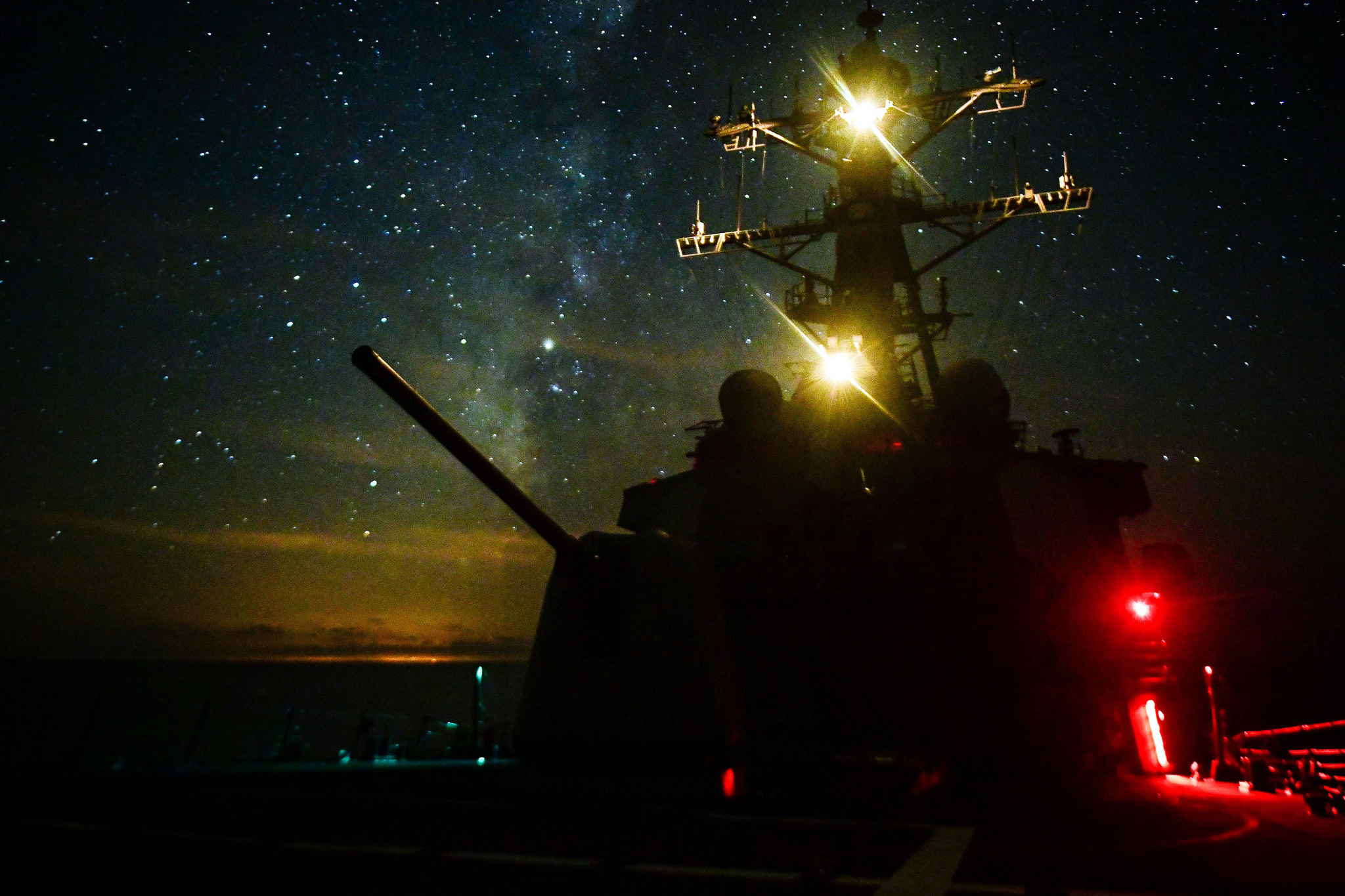 The Arleigh Burke-class guided-missile destroyer USS Ross (DDG 71) transits the Mediterranean Sea on Sept. 29, 2018. Ross, forward-deployed to Rota, Spain, is on its seventh patrol in the U.S. 6th Fleet area of operations in support of U.S. national security interests Europe and Africa. (MC3 Krystina Coffey/Navy)