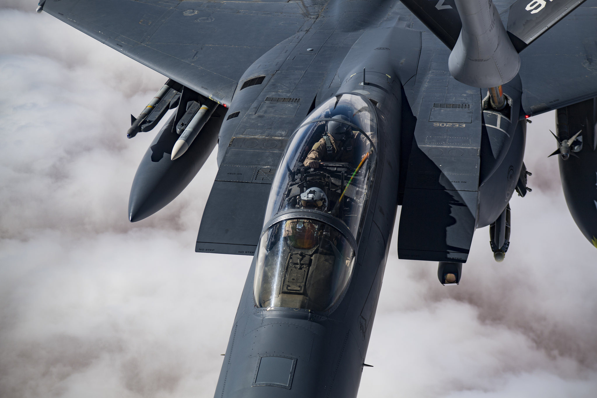 A U.S. Air Force F-15E Strike Eagle receives in-flight fuel from a KC-135 Stratotanker on Oct. 25, 2018, while flying over Iraq in support of Operation Inherent Resolve. (Staff Sgt. Clayton Cupit/Air Force)