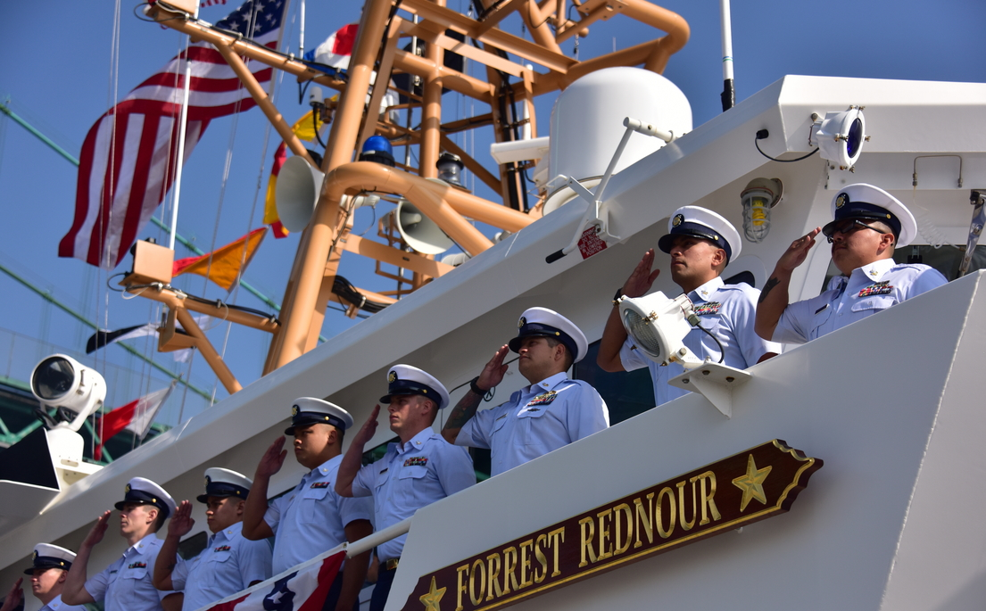 The crew of Coast Guard Cutter Forrest Rednour mans the rail during the cutter's Nov. 8 commissioning ceremony in San Pedro, California. The Forrest Rednour is the 29th Fast Response Cutter to be commissioned by the Coast Guard. (Fireman Taylor Bacon /Coast Guard)