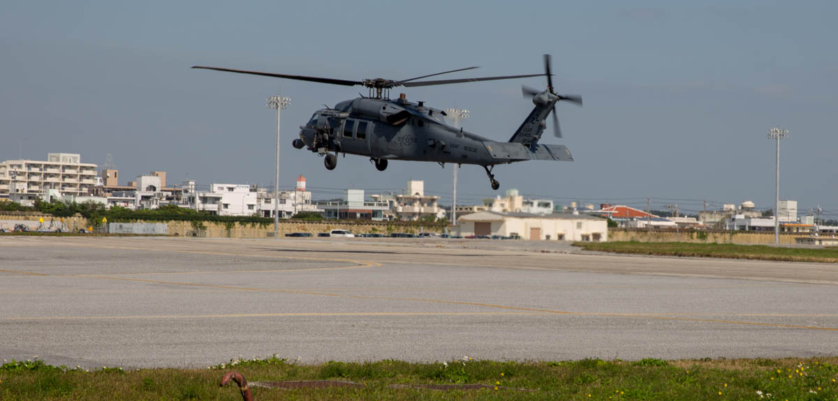 An HH-60G of the 33rd Rescue Squadron takes off from Kadena Air Base, Japan. (Jeff Martin/Staff)