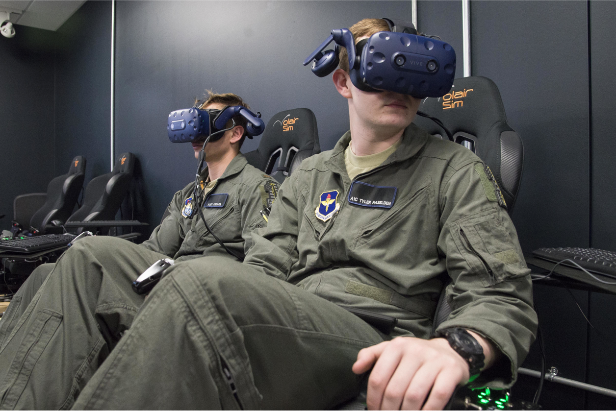 The Vive headsets here are an example of one of the many kinds of new commercial-off-the-shelf technology used by the military. (Sean M. Worrell, Air Force)