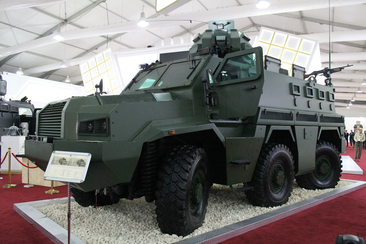 Jordan's Al-Fares six-wheel drive special purpose armored vehicle is touted as suitable for combat, border security or logistics purposes, and it can act as a mobile command post. (Jen Judson/Staff)