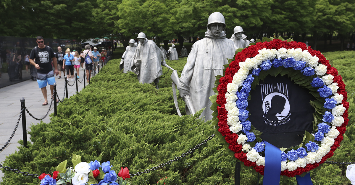Pedestrians walk through the Korean War Memorial on Sunday, May 27 in Washington, D.C. during Memorial Day Weekend festivities throughout the city. (Ben Murray / Military Times)