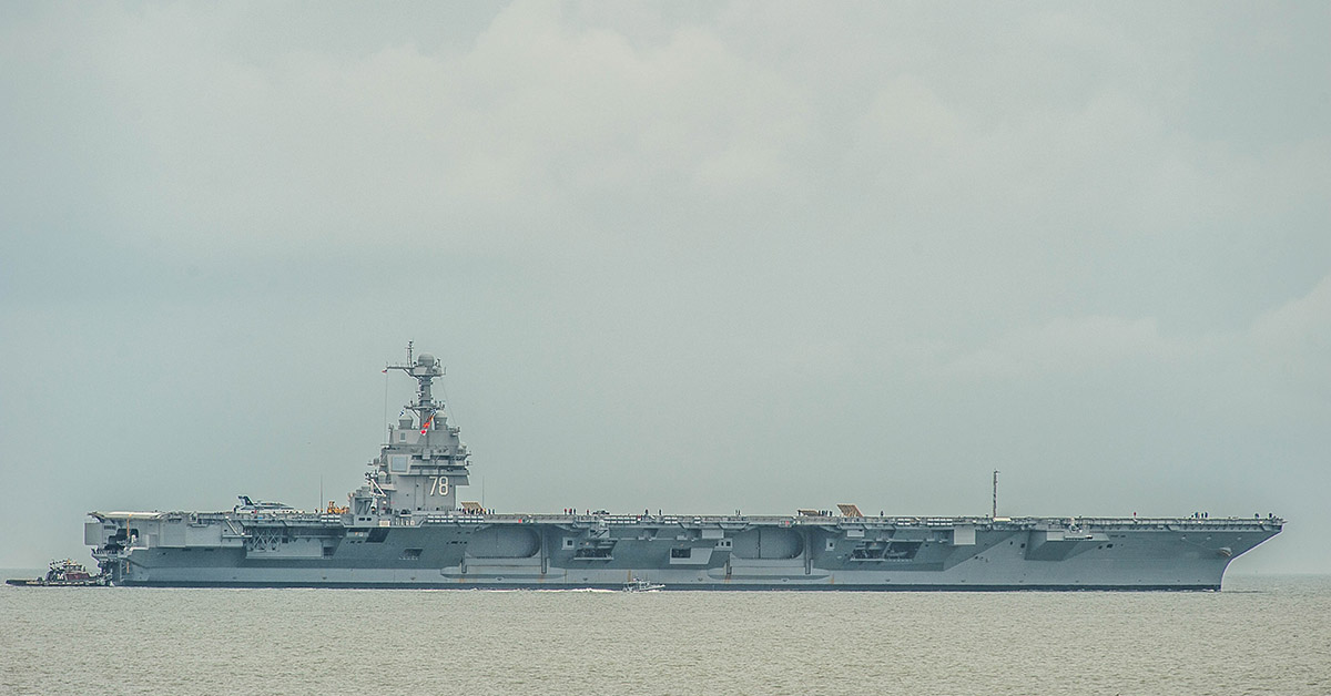 The Navy's newest aircraft carrier, the Gerald R. Ford, heads to sea May 19 from its homeport at Norfolk, Va., to conduct extended operational testing of ship's systems. The ship was forced back into port May 22 for needed adjustments to propulsion components, but is expected to return to sea soon. (Mark D. Faram/Navy Times)