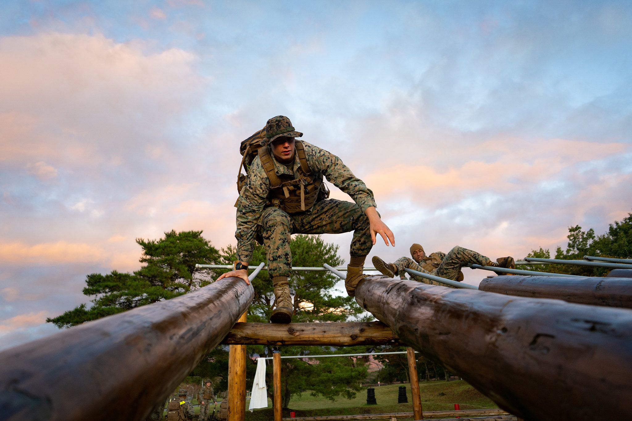 Marine Cpl. Jeffrey Wik runs through the obstacle course during a fire team competition as part of exercise Fuji Viper 20-1 on Camp Fuji, Japan, Oct. 30, 2019. (Cpl. Timothy Hernandez/Marine Corps)