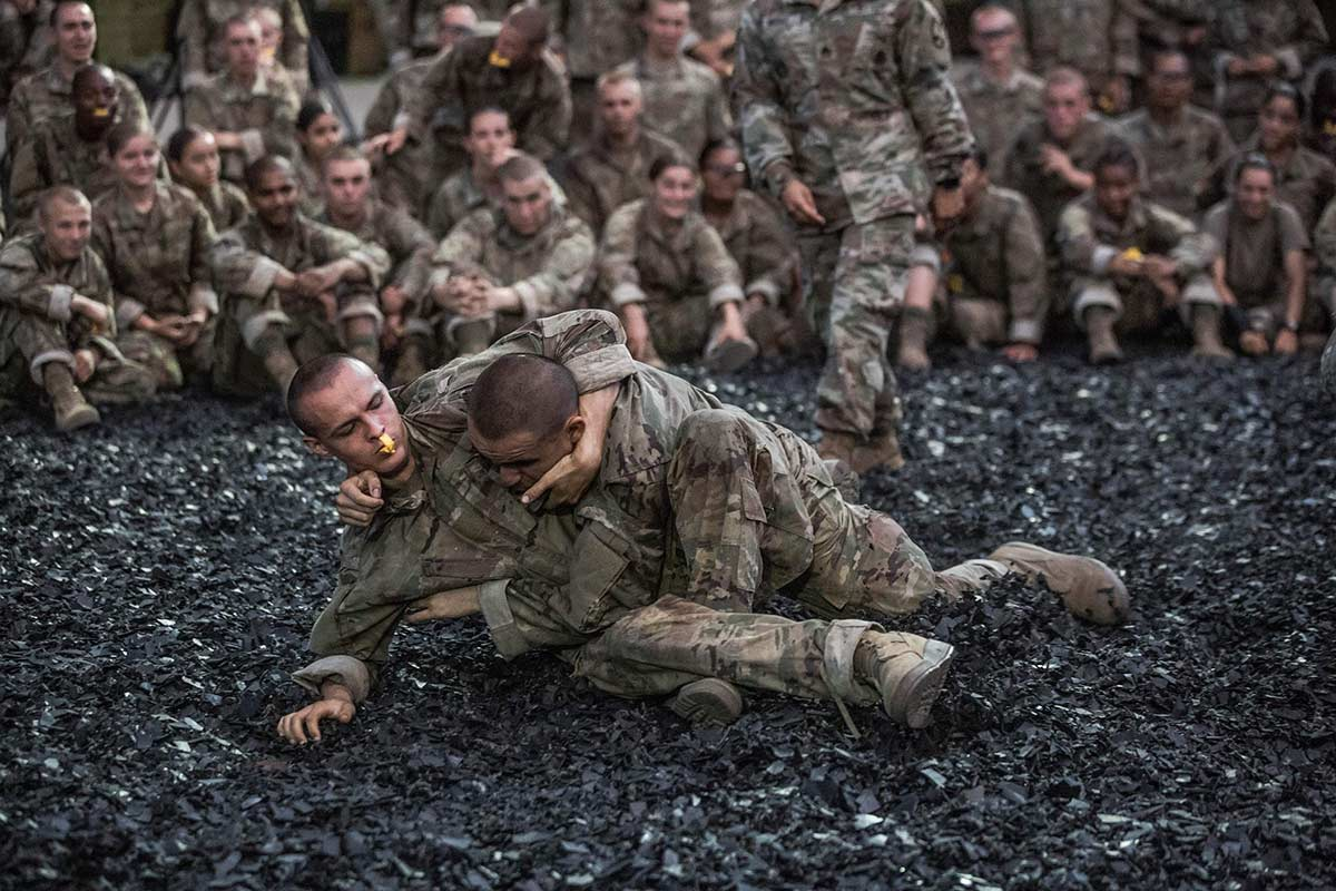 One of the final events prior to the trainees induction ceremony is combatives at Fort Jackson, S.C., on , Aug. 21, 2019. (Army)