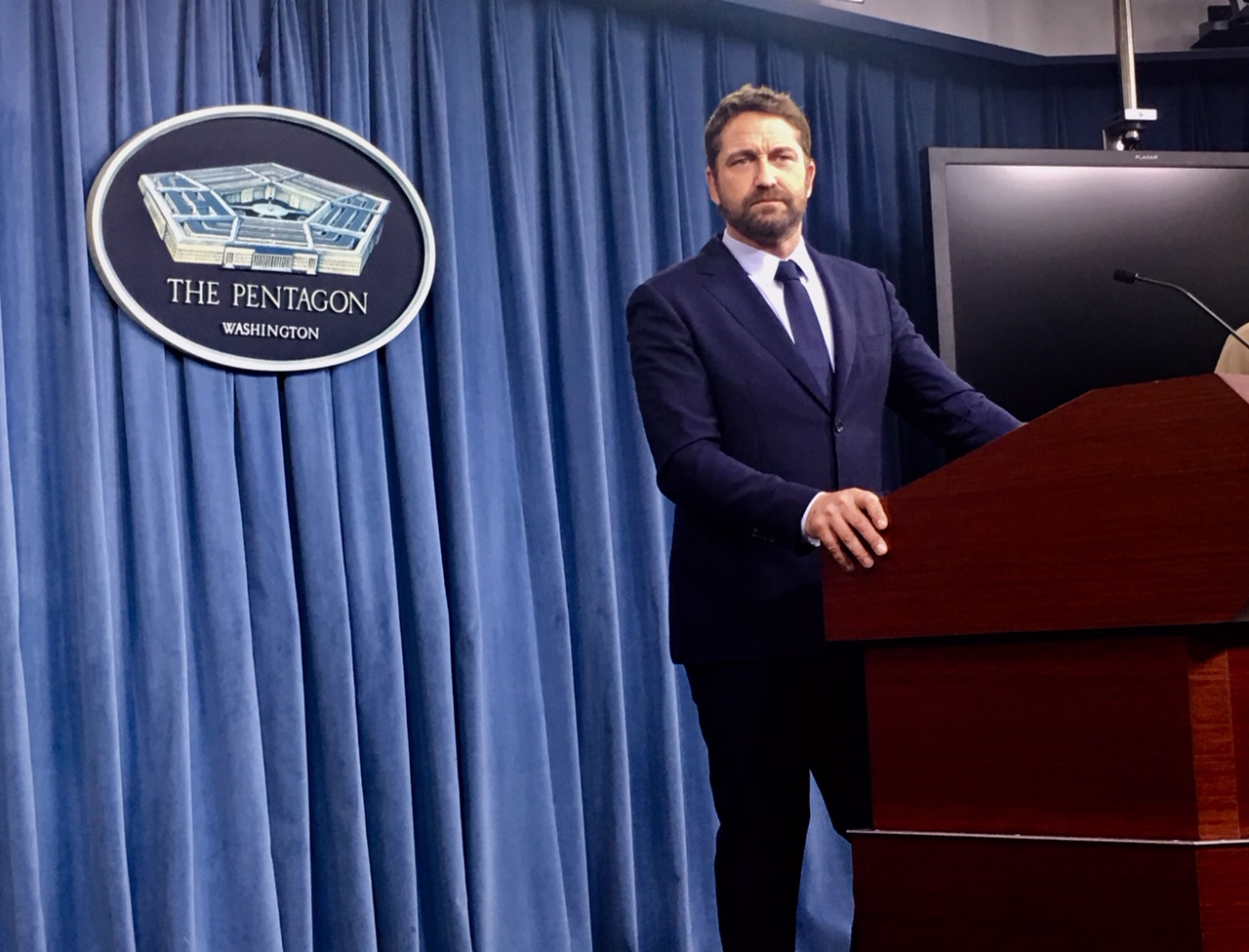 Actor Gerard Butler made a Pentagon appearance Monday to promote his movie
