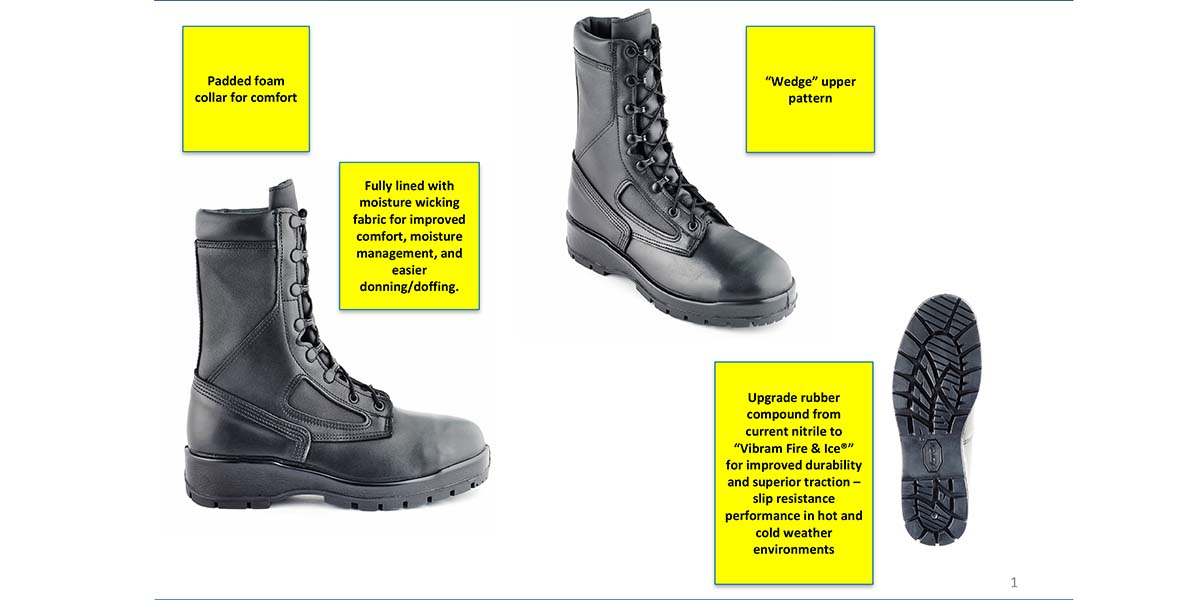 A Navy Exchange Service Command rundown of the new design features of the I Boot-4 (NEXCOM)