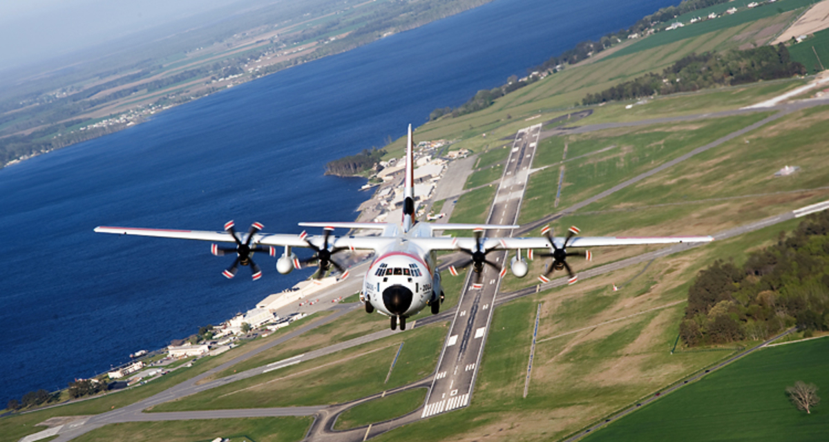 A Coast Guard HC-130J Super Hercules long-range surveillance aircraft like the plane used Wednesday during a search for a missing mariner off Virginia. (Coast Guard)