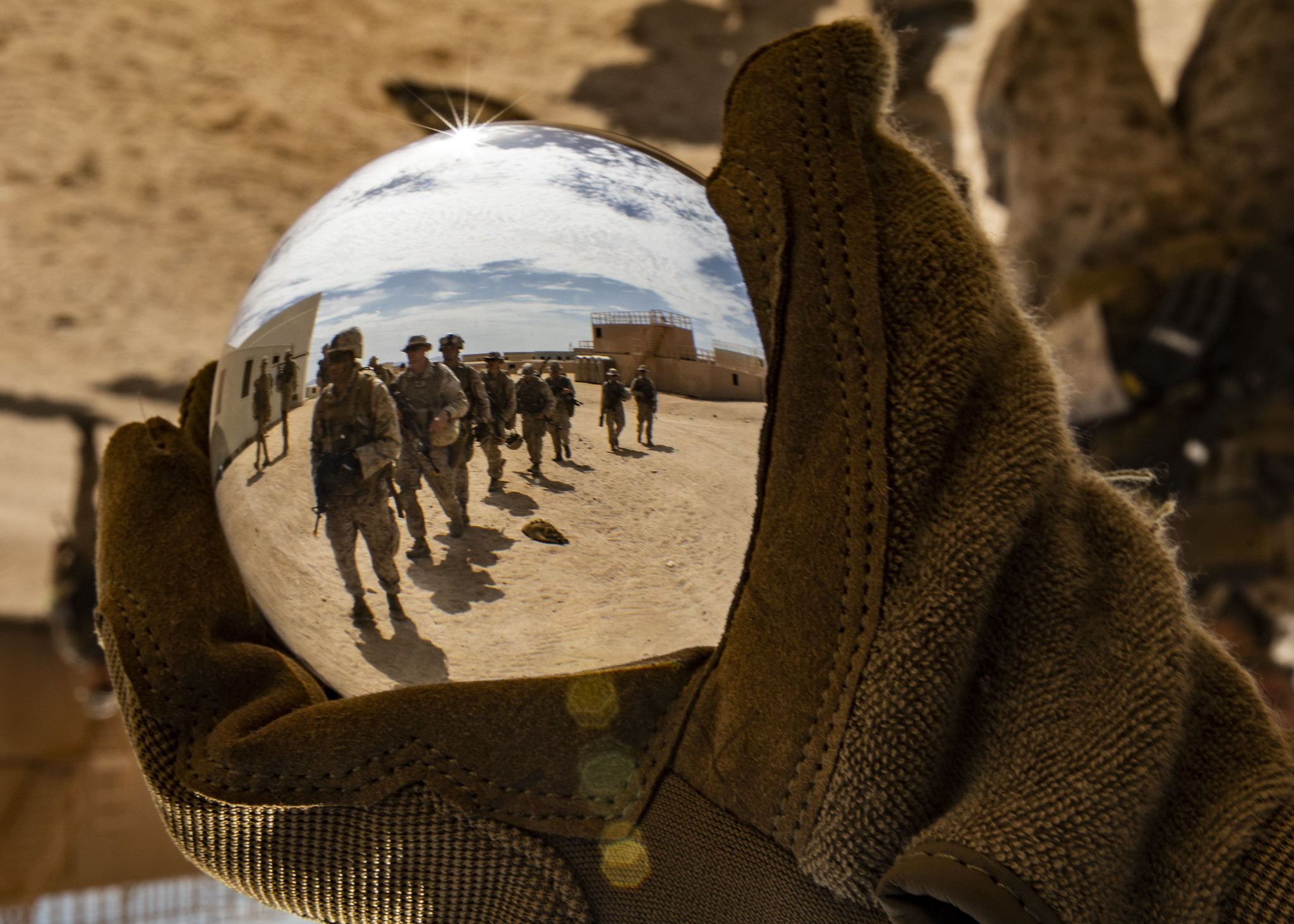 Marines hike towards their next objective during Integrated Training Exercise 5-19 at Marine Corps Air Ground Combat Center Twentynine Palms, Calif., July 31, 2019. (Lance Cpl. Jose Gonzalez/Corps)