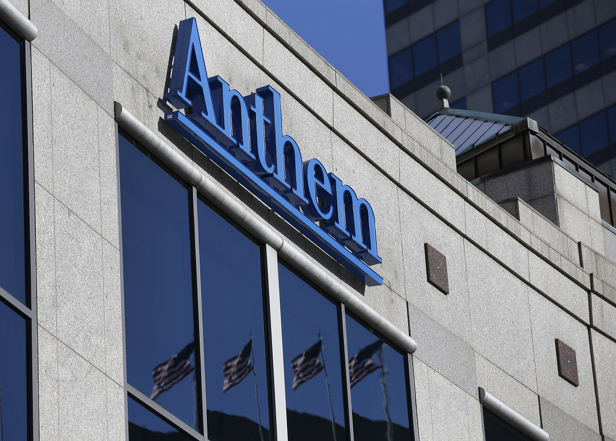 This Feb. 5, 2015, photo shows the Anthem logo at the health insurer's corporate headquarters in Indianapolis. The Justice Department says a grand jury has indicted Fujie Wang and another Chinese man identified only as John Doe for hacking into the computers of health insurer Anthem Inc. and three other, unnamed companies, in an indictment unsealed Thursday, May 9, 2019, in Indianapolis. (Michael Conroy/AP)