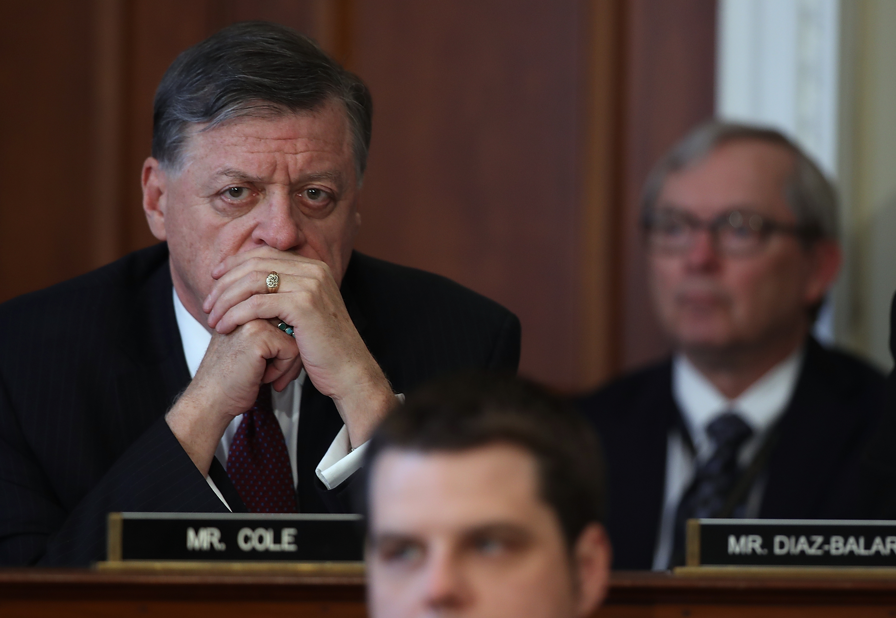 U.S. Rep. Tom Cole (left), R-Okla., looks on during a hearing on Capitol Hill on March 16, 2017 in Washington, D.C. Cole is one of two lawmakers requesting a probe of the Pentagon's giant cloud computing solicitation. (Justin Sullivan/Getty Images)
