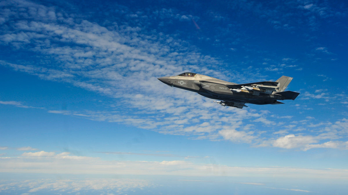 An F-35B Lightning II with the F-35B detachment of Medium Marine Tiltrotor Squadron 262 (Reinforced) carries Guided Bomb Units above the East China Sea, Feb. 3, 2019. (Maj. Jesse Peppers/Marine Corps)