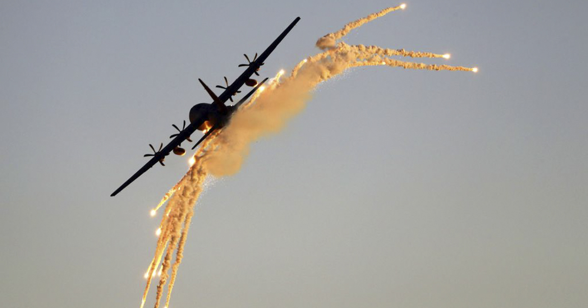 Israeli C-130 Hercules, launches anti-missile flares during an air show at the graduation ceremony of Israeli Air Force pilots at the Hatzerim base in the Negev desert, near the southern Israeli city of Beer Sheva, on June 27, 2019. (JACK GUEZ/AFP/Getty Images)