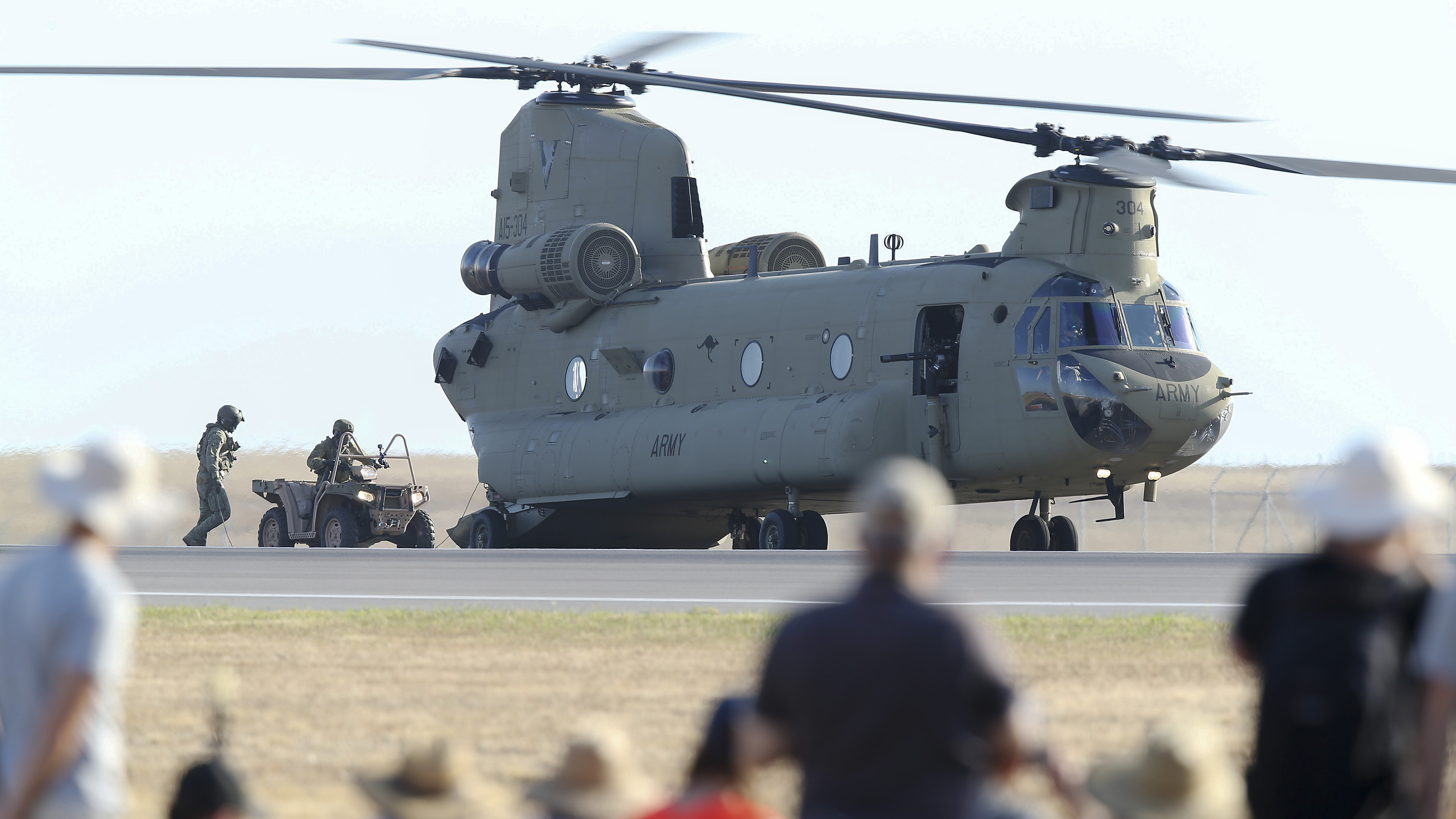 Soldiers drive an ATV into a Chinook CH-47 at Avalon Airport on March 01, 2019 in Melbourne, Australia during the 2019 Australian International Airshow. (Photo by Michael Dodge/Getty Images)