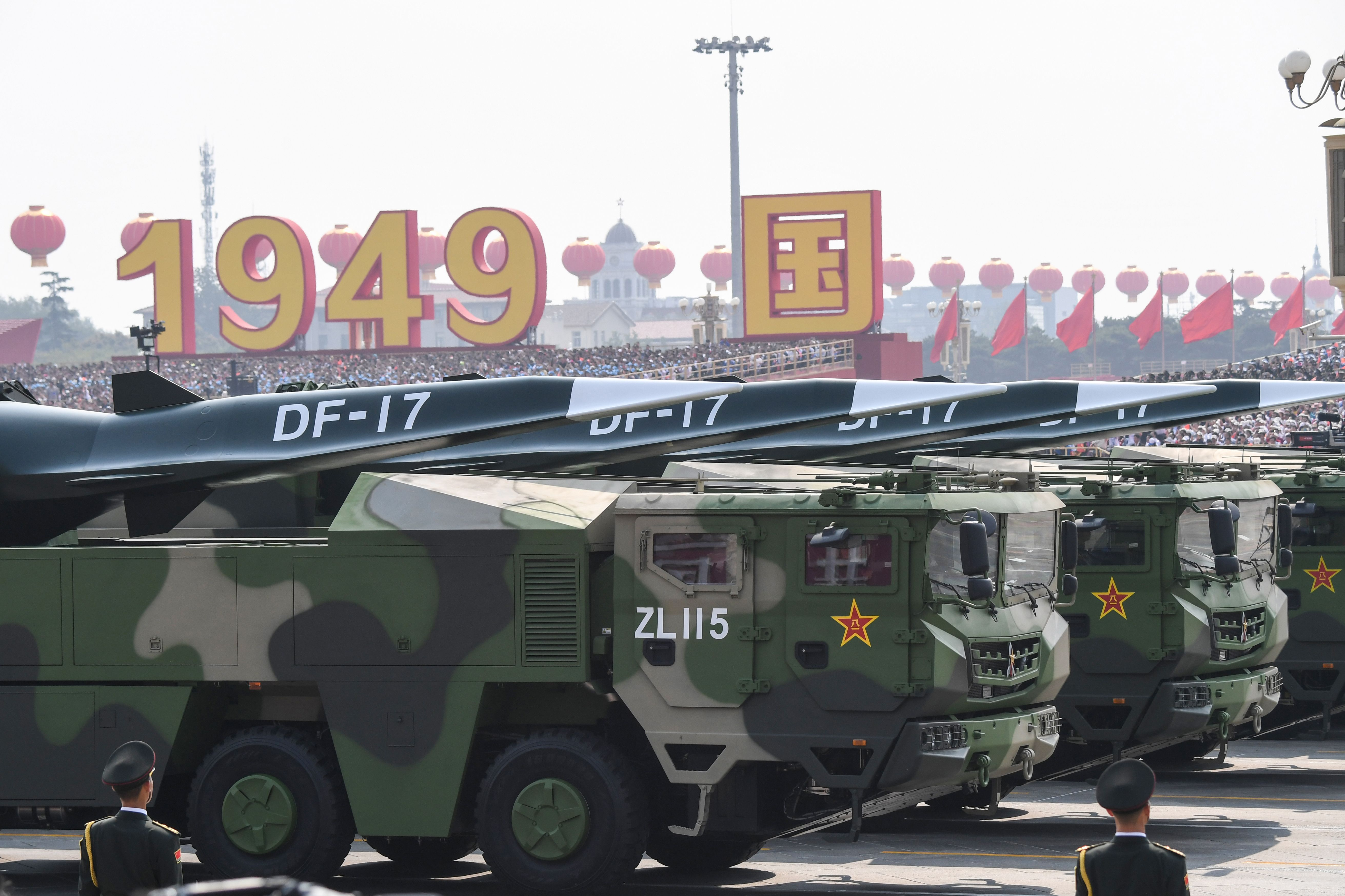 The biggest surprise at the parade was the appearance of the DF-17 hypersonic glide vehicle. (Greg Baker/AFP via Getty Images)