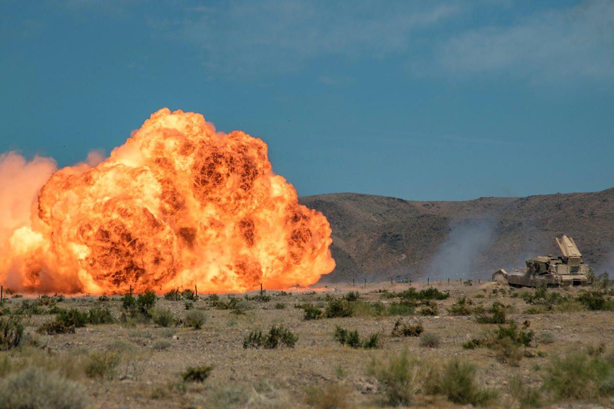 Soldiers detonate an M58 mine clearing line charge during a live-fire training exercise at the National Training Center in Fort Irwin, Calif., June 12, 2019. (Cpl. Alisha Grezlik/Army)
