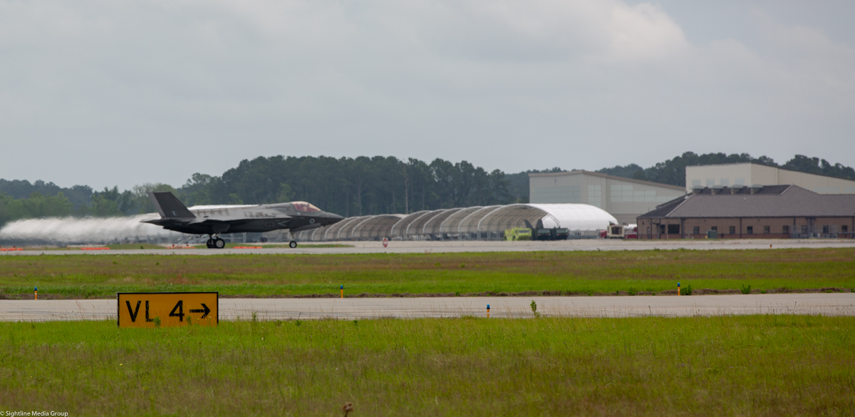 An RAF F-35B taxis in front of VMFAT-501 at MCAS Beaufort, SC(Jeff Martin/Staff)