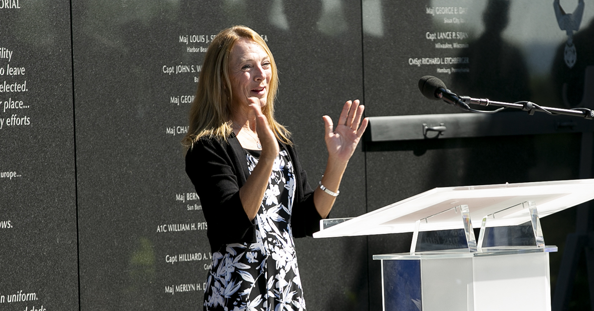 Valerie Nessel, spouse of U.S. Air Force Tech. Sgt. John Chapman, speaks during a Medal of Honor unveiling ceremony at the Air Force Memorial for her husband who was posthumously awarded the Medal of Honor on Wednesday for actions on Takur Ghar mountain in Afghanistan on March 4, 2002. (Alan Lessig/Staff)