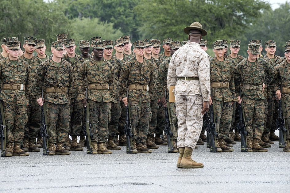 Recruits undergo basic training at Marine Corps Recruit Depot Parris Island in South Carolina. A federal judge has ruled that the military must start accepting transgender recruits on Jan. 1. (Joel Carillet/Marine Corps)
