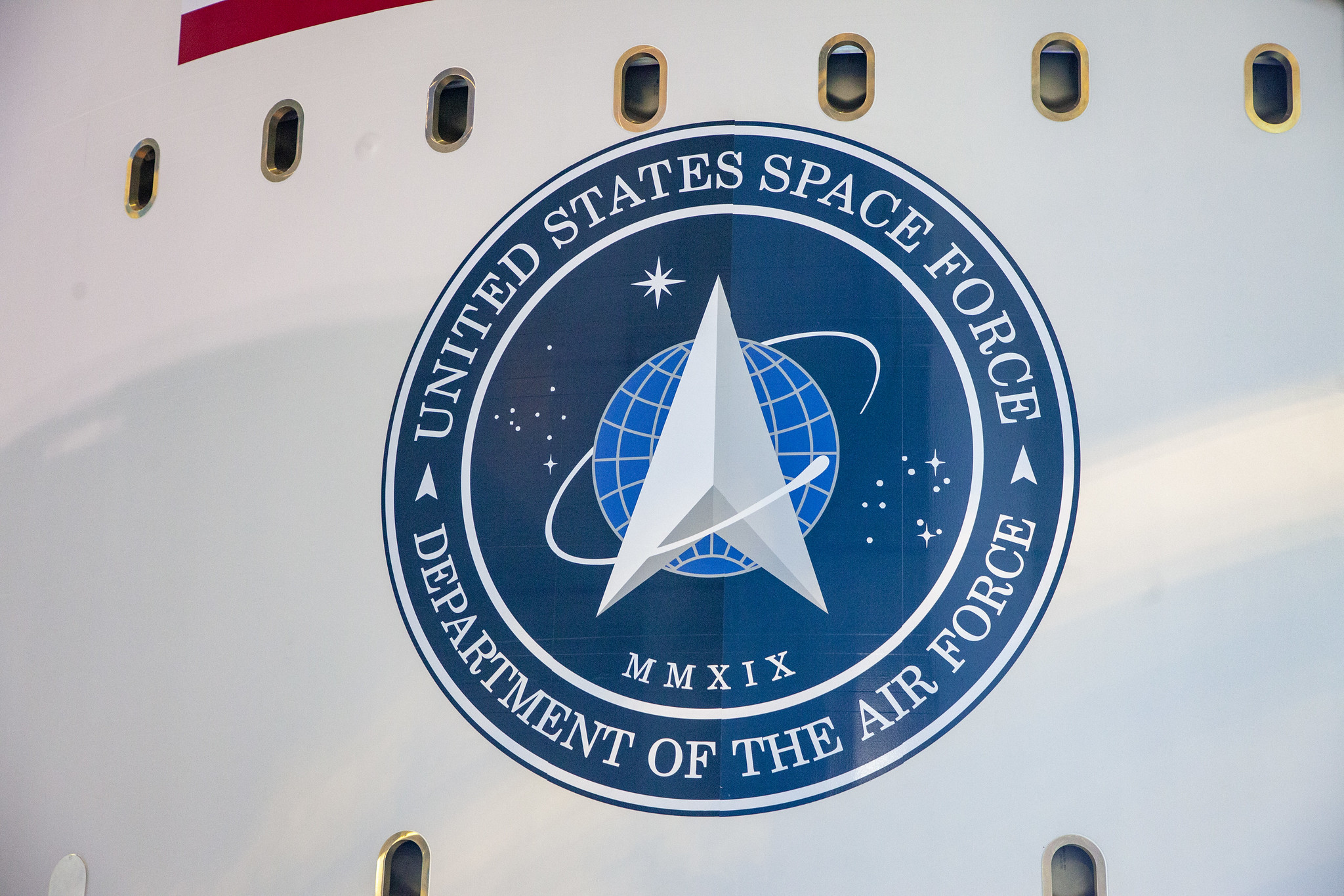 The logo of the U.S. Space Force is seen on the side of United Launch Alliance's Atlas V rocket at Cape Canaveral Air Force Station, Florida. (United Launch Alliance)