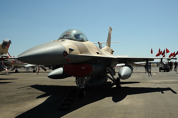 A Royal Moroccan Air Force F-16 fighter jet sitting on the tarmac in 2014. Harris won a 2016 contract to supply AIDEWS systems and support equipment to the Royal Moroccan Air Force.(AFP/Getty Images)
