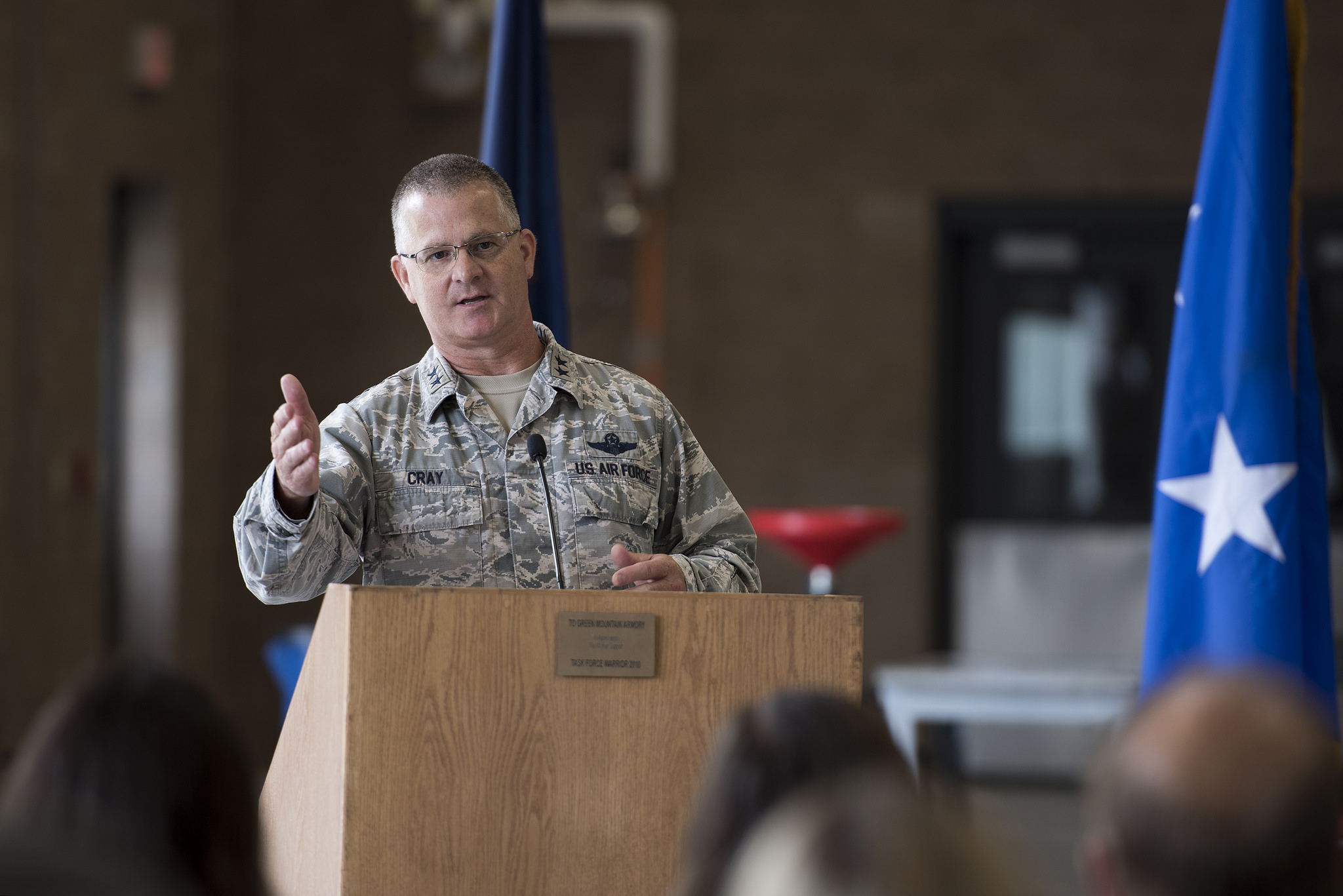 U.S. Air Force Maj. Gen. Steven Cray, adjutant general, Vermont National Guard, speaks to visitors at the Vermont National Guard's new vehicle maintenance shop ribbon cutting ceremony, North Hyde Park, Vt., July 12, 2017. (Tech. Sgt. Sarah Mattison/Air National Guard )