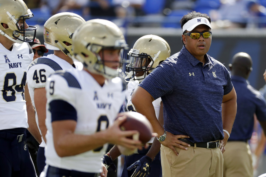 Navy head coach Ken Niumatalolo appeared on The Jim Rome Show Wednesday to discuss the upcoming season. (Mark Humphrey/AP)