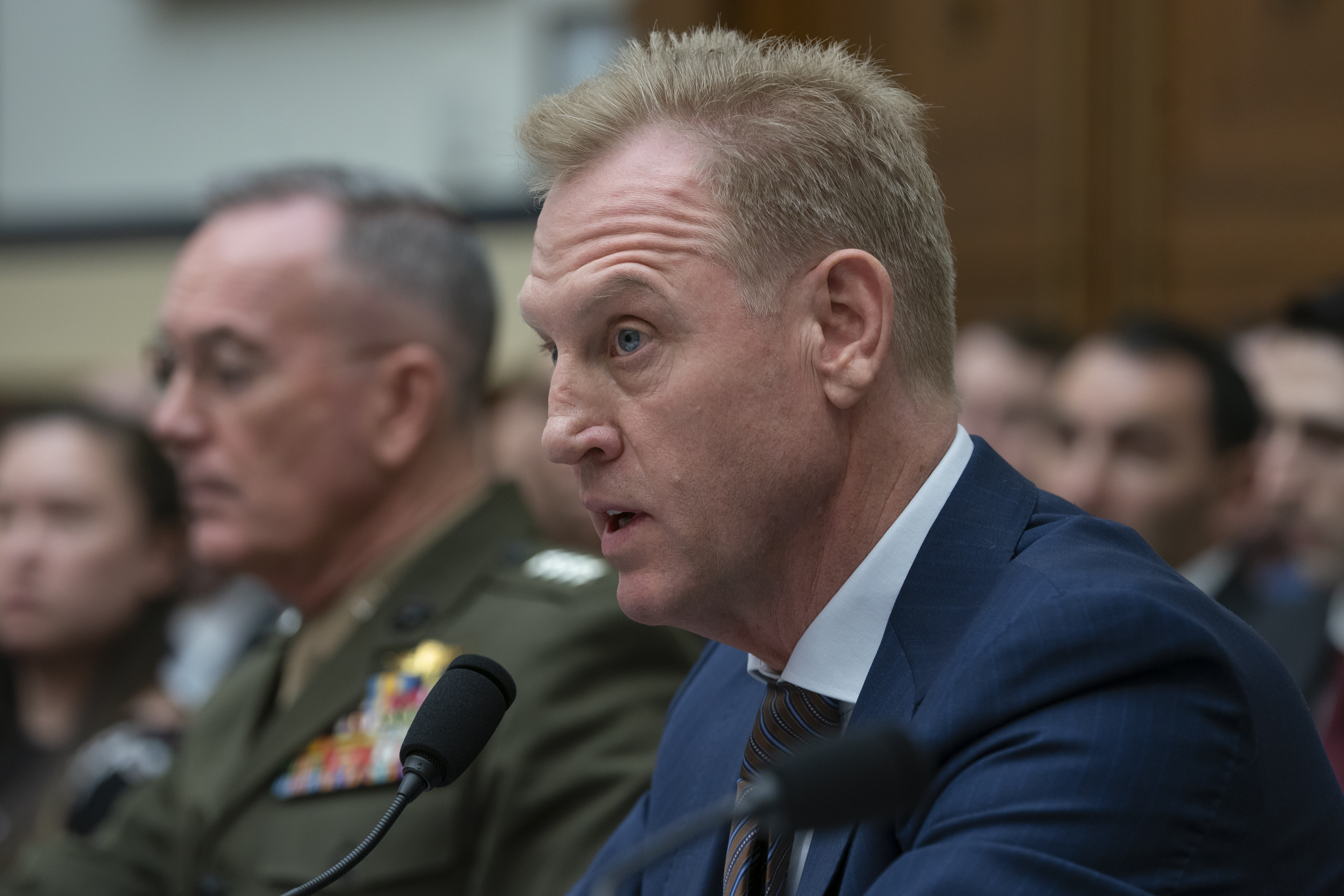 Acting Defense Secretary Patrick Shanahan, joined at left by Chairman of the Joint Chiefs of Staff Gen. Joseph F. Dunford, testifies at a House Armed Services Committee hearing on the fiscal year 2020 Pentagon budget, on Capitol Hill in Washington, Tuesday, March 26, 2019. (J. Scott Applewhite/AP)