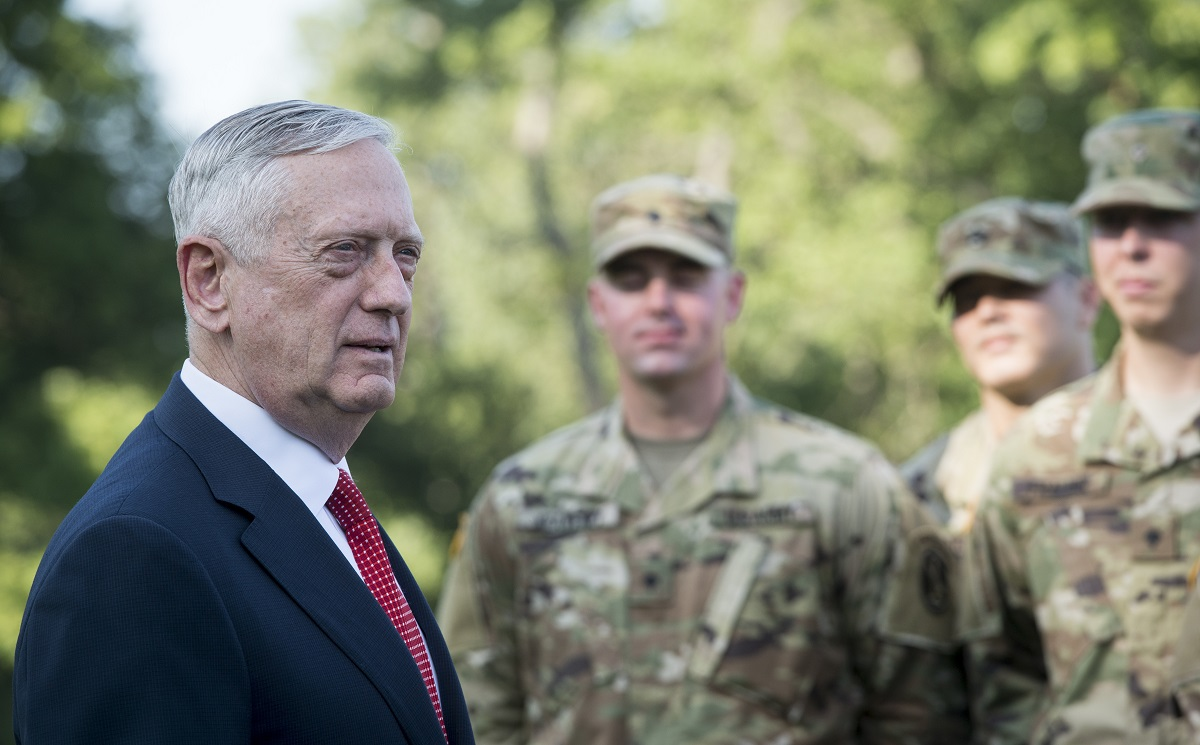 Secretary of Defense Jim Mattis re-enlists members of the 3rd U.S. Infantry Regiment (Old Guard) during a ceremony Sept. 21, 2017, at Joint Base Myer-Henderson Hall, Va. (Tech. Sgt. Brigitte N. Brantley/Air Force)