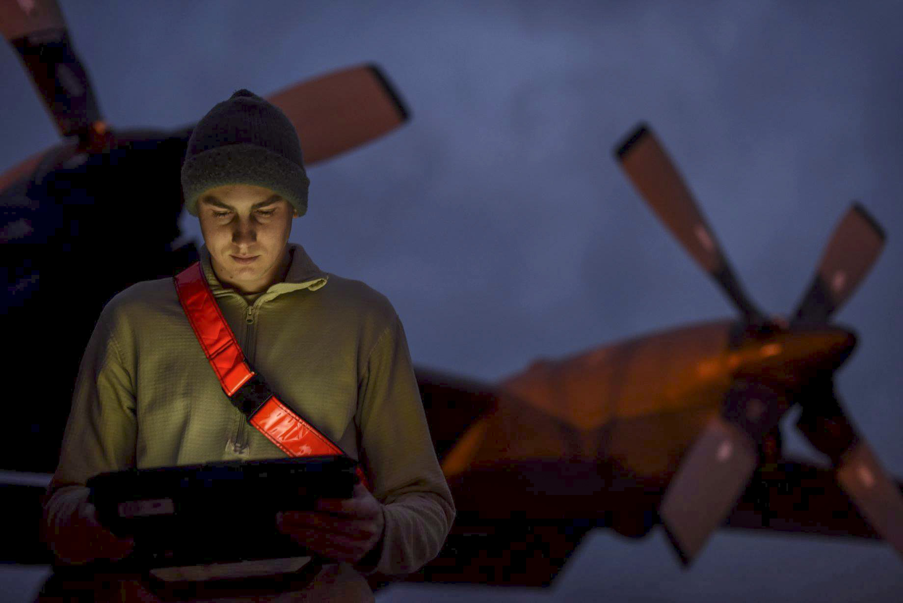 Airman 1st Class Matthew Cable, 4th Aircraft Maintenance Unit aerospace maintenance apprentice, reviews a technical order before starting preventative maintenance at Hurlburt Field, Fla., March 26, 2018. Maintainers with the 4th AMU work day and night to keep Hurlburt Field's aircraft ready for global operations. (A1C Caleb Pavao/Air Force)