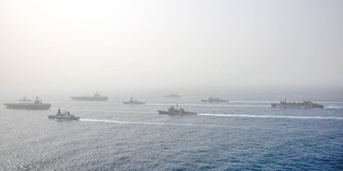 The Abraham Lincoln and John C. Stennis carrier strike groups conducted carrier strike force operations in the U.S. 6th Fleet. Together, the strike groups will complete high-end war fighting training., (Mass Communication Specialist 3rd Class Jeremiah Bartelt/Navy)