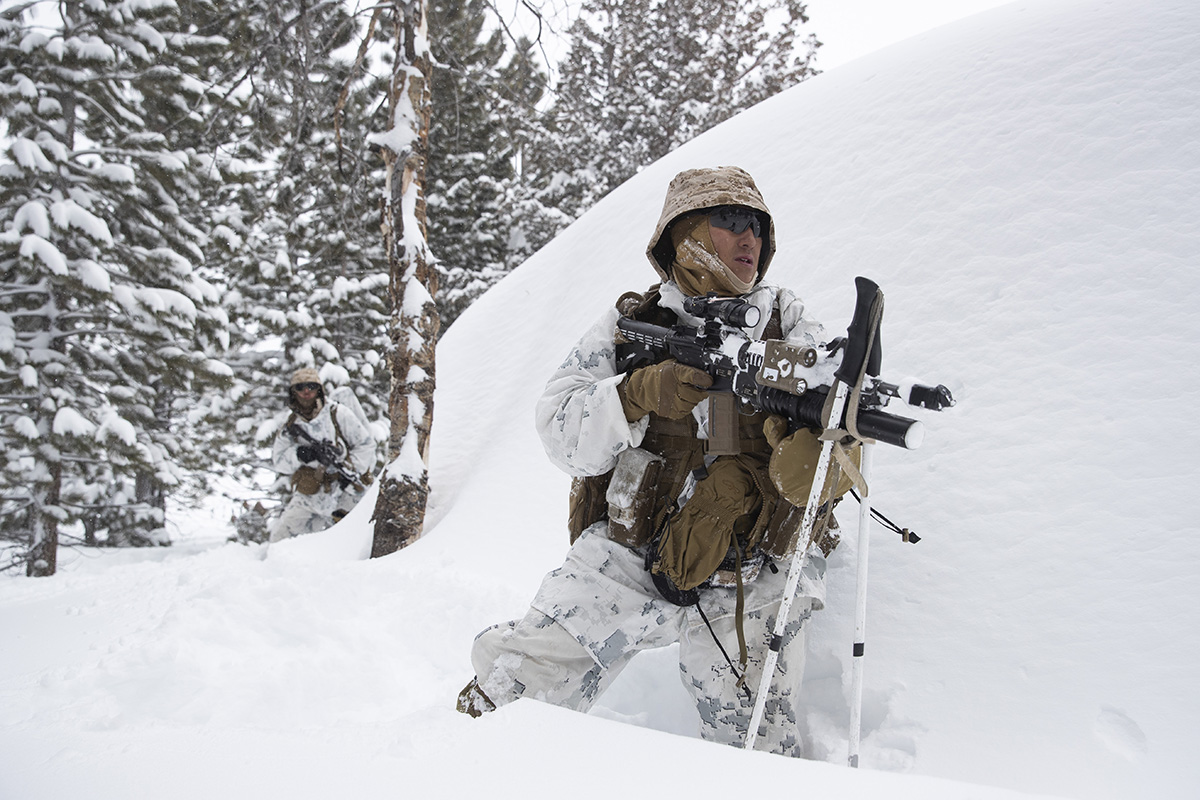 A U.S. Marine takes his position during advanced cold-weather training at the Marine Corps Mountain Warfare Training Center Sunday, Feb. 10, 2019, in Bridgeport, Calif. After 17 years of war against Taliban and al-Qaida-linked insurgents, the military is shifting its focus to better prepare for great-power competition with Russia and China, and against unpredictable foes such as North Korea and Iran. (Jae C. Hong/AP)