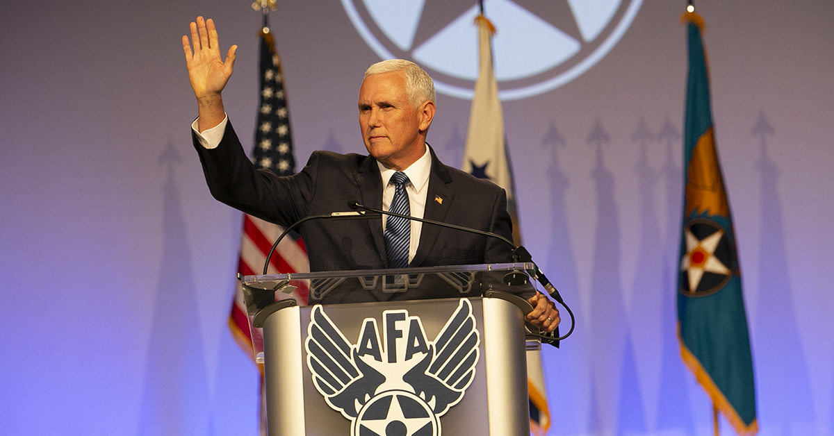 Vice President Mike Pence makes a surprise visit during the Air Force Association's Air, Space & Cyber conference held at the Gaylord National Resort & Conference Center in Oxon Hill, MD. (Alan Lessig/Staff)