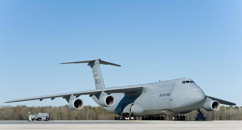 A C-5M Super Galaxy sits on the flight line at Dover Air Force Base, Del.(Roland Balik/Air Force)