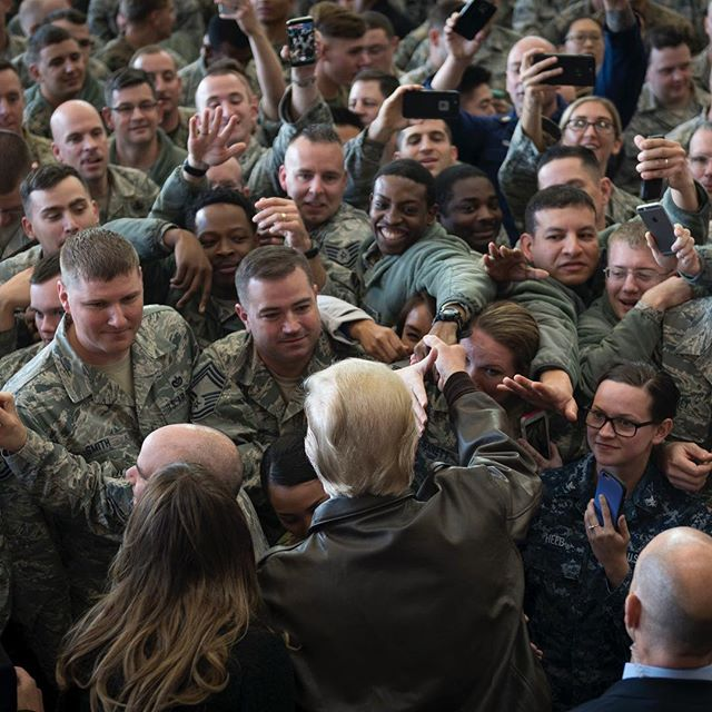 President Donald Trump greets service members from U.S. Forces Japan after a troop talk Nov. 5, 2017, at Yokota Air Base, Japan. (Airman 1st Class Juan Torres/Air Force)