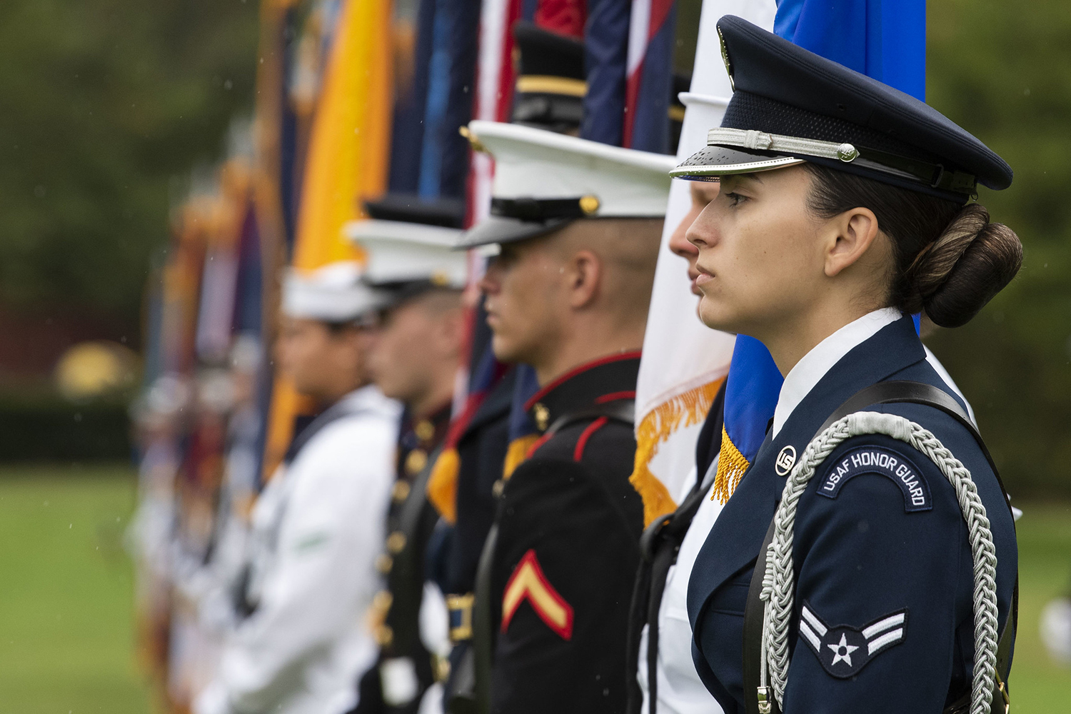 Members of the Joint Armed Forces Honor Guard take part in an armed forces welcome ceremony for the new chairman of the Joint Chiefs of Staff, Army Gen. Mark A. Milley,at Joint Base Myer-Henderson Hall, Va., Sept. 30, 2019. (Lisa Ferdinando/DoD)