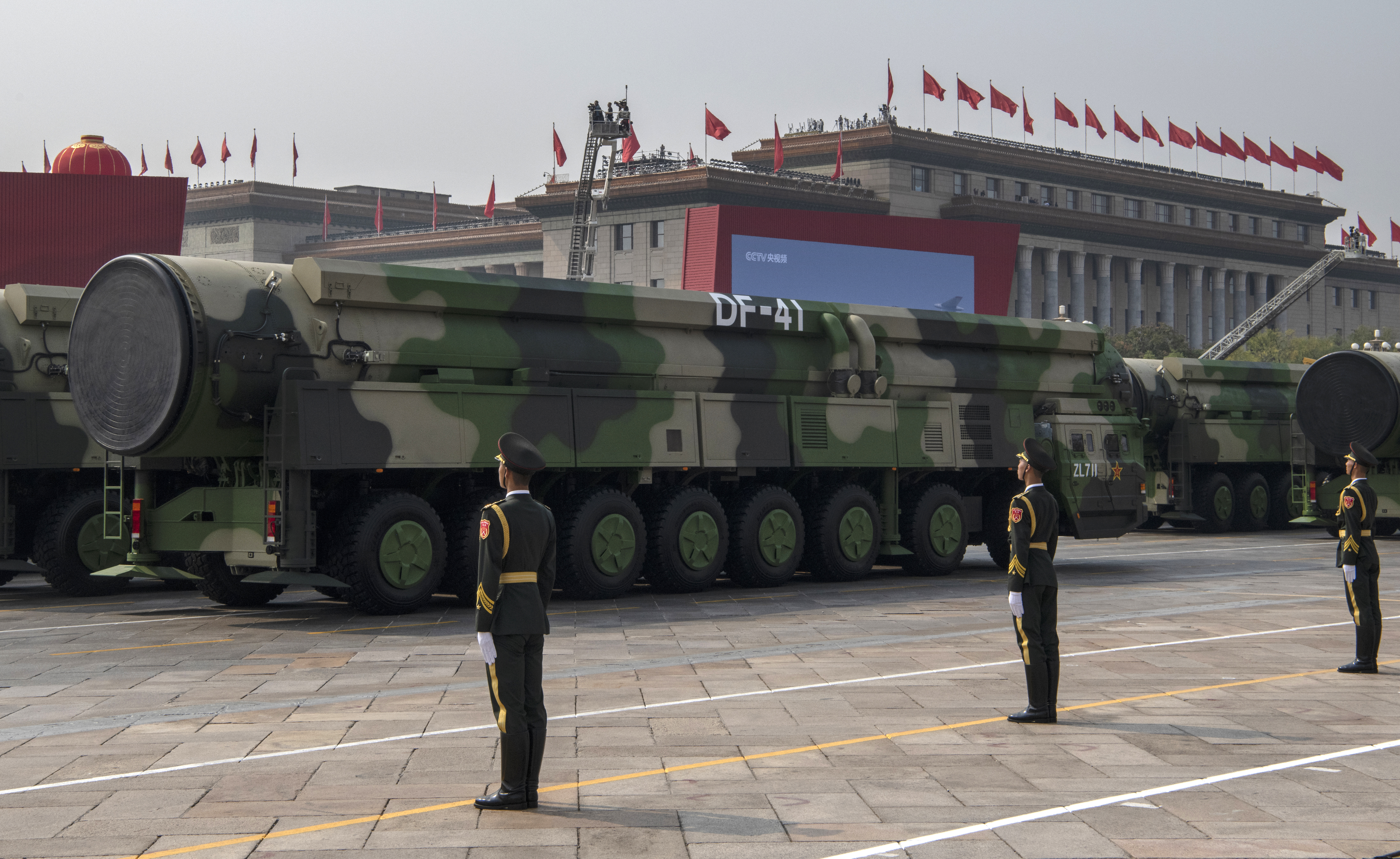 China's state-run news agency Xinhua said the 16 DF-41 transporter-erector-launchers at the parade came from two brigades with the People's Liberation Army Rocket Force. (Kevin Frayer/Getty Images)