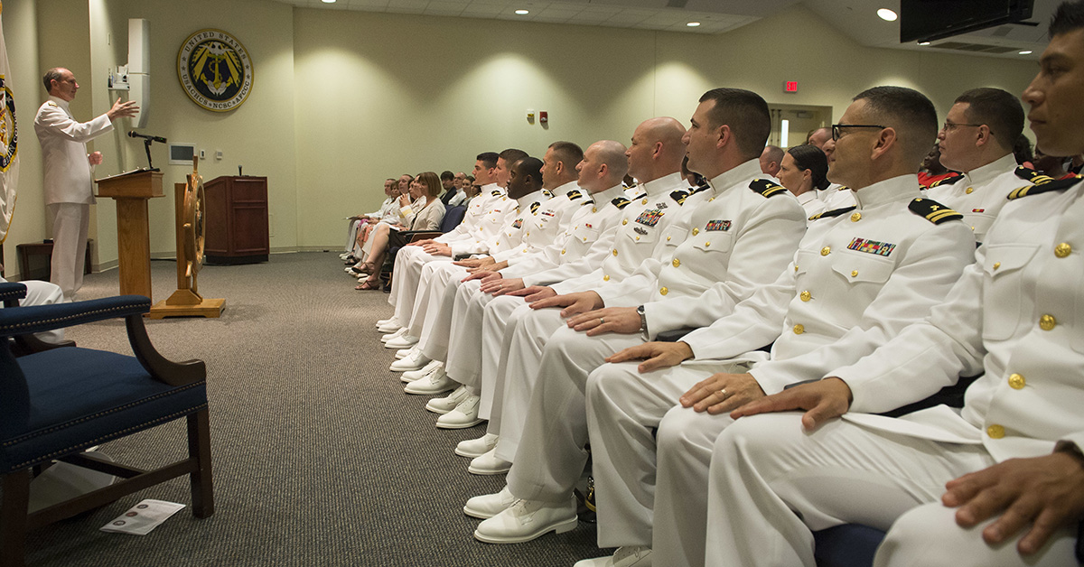 Then-Chief of Naval Operations Adm. Jonathan Greenert delivers remarks May 20, 2015, during a graduation ceremony for the professional Naval chaplaincy basic leadership course at the Naval Chaplaincy School and Center at Fort Jackson, S.C. (MC1 Nathan Laird/Navy)