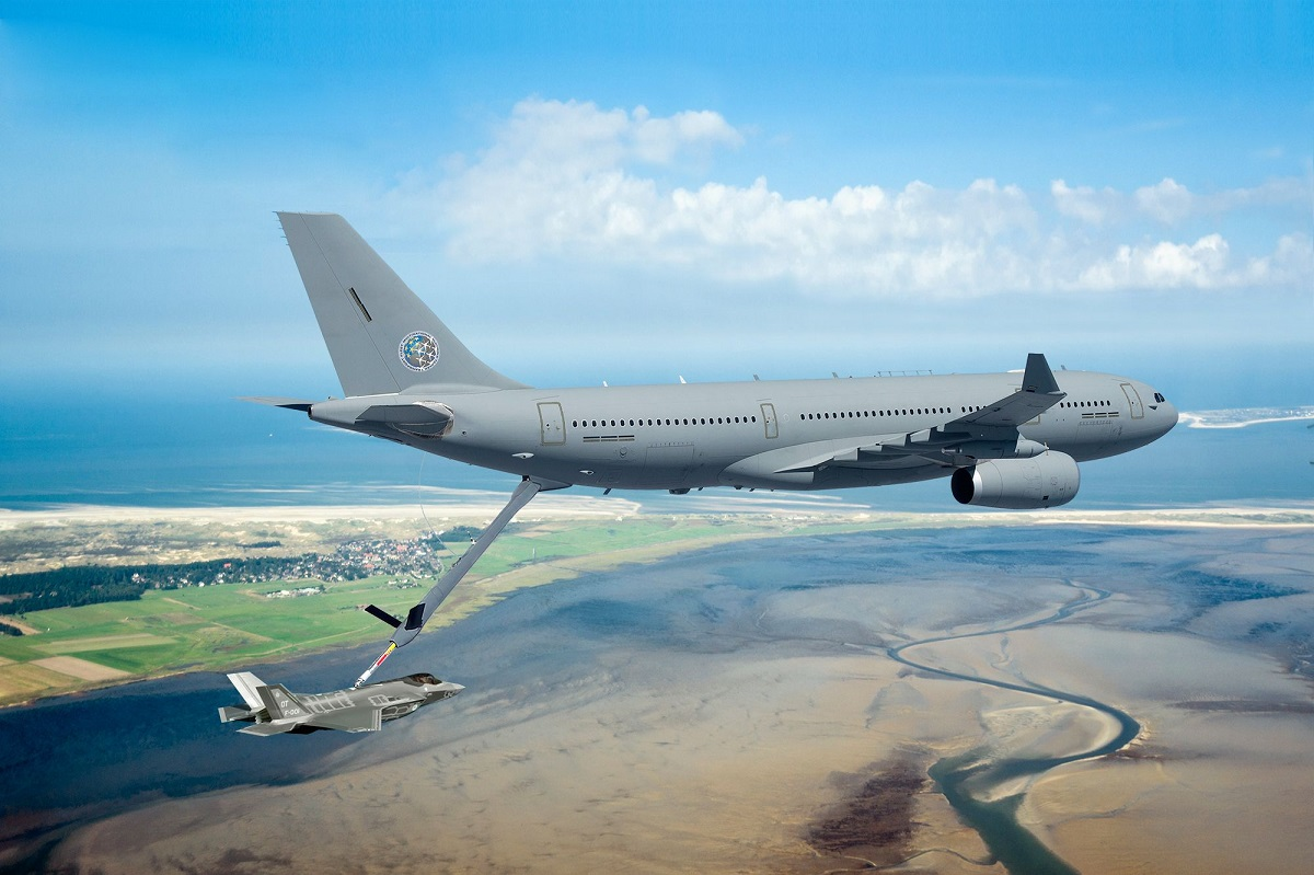 An Airbus A330 Multi Role Tanker Transport aircraft refuels a fighter jet. (Airbus)