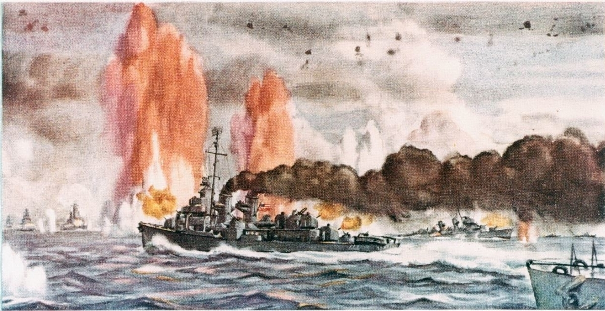 Battle off Samar, 25 October 1944 (a watercolor by Cmdr. Dwight C. Shepler, depicting the counterattack by the escort carrier group's screen. Ships present are (L-R): Japanese battleships Nagato, Haruna, and Yamato, with salvo from Yamato landing in left center; U.S. Navy destroyers Heerman (DD-532) and Hoel (DD-533) sinking; Japanese cruisers Tone and Chikuma. (U.S. Naval History and Heritage Command)