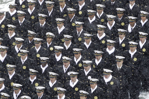 Navy Midshipmen take their places ahead of Saturday's Army-Navy game at Philadelphia's Lincoln Financial Field. (Matt Rourke/AP)