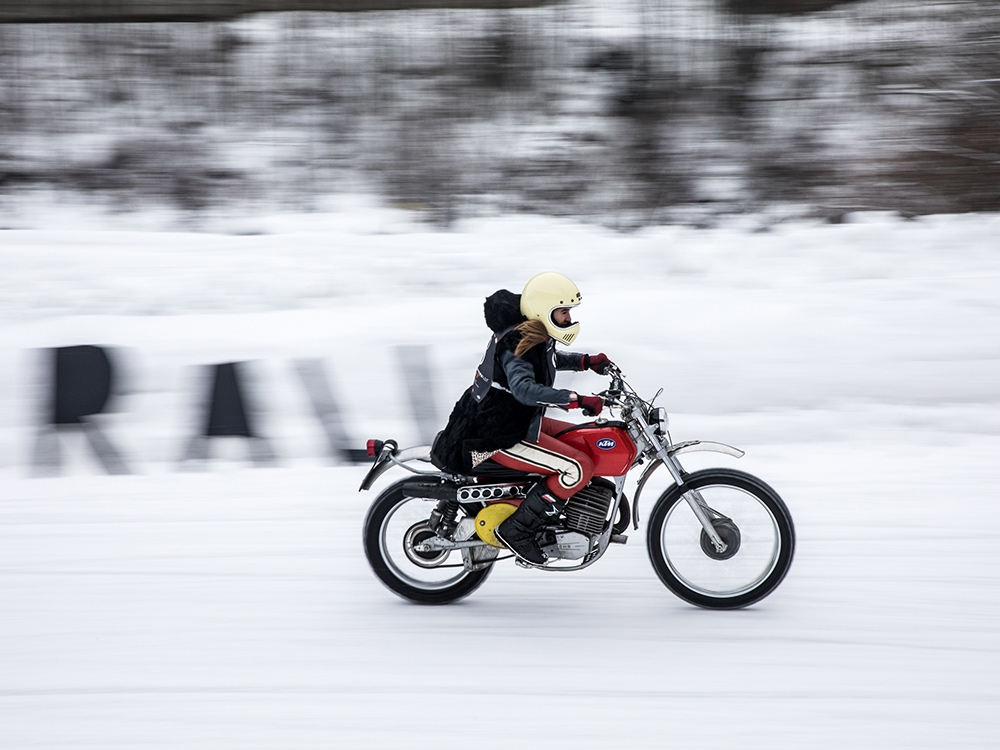 A vintage KTM in the snow and an open track with nobody tracking your time but yourself — sounds perfect. (Monti Smith)