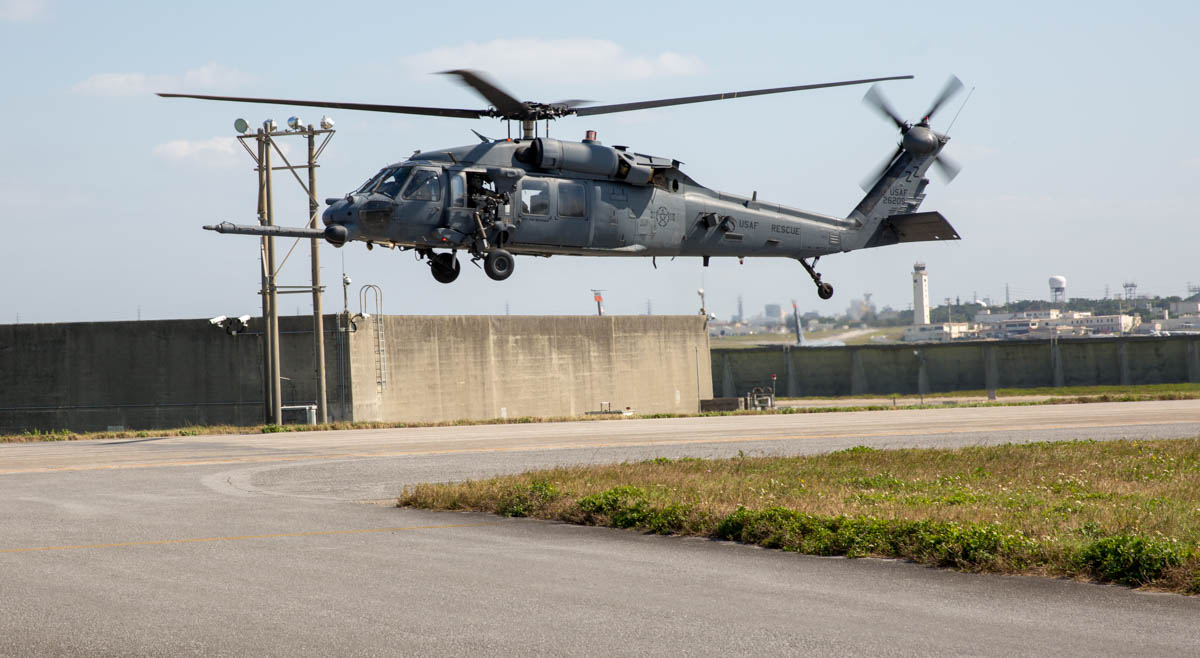 An HH-60G from the 33rd Rescue Squadron lifts off from Kadena Air Base on Okinawa. (Jeff Martin/Staff)