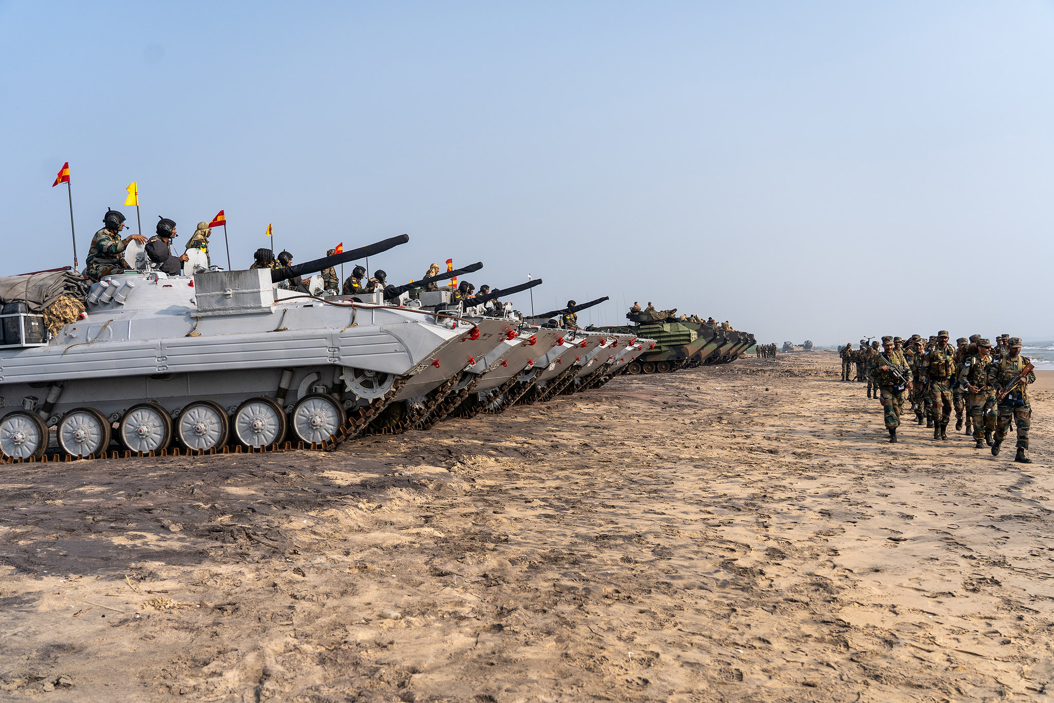 U.S. Marines and Indian soldiers prepare to depart Kakinada, India, at the conclusion of exercise Tiger TRIUMPH, Nov. 21, 2019. (1st Lt. Tori Sharpe/Marine Corps)